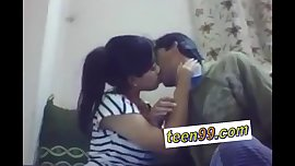 Indian school studend kissing deeply to express love