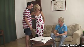 Funny game with blonde teen leads not family 3some