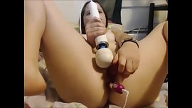 Cute teen girl masturbates w 3 toys