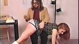 Redhead schoolgirl spanking