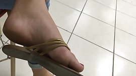 College girl feet with red toenails soft soles pies pieds