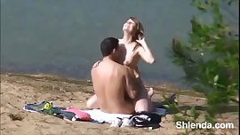 Sex on the beach. Young busty blonde outdoor homemade porn