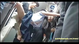 Jav Schoolgirl Ambushed On Public Bus Fucked Standing Up In Her Uniform
