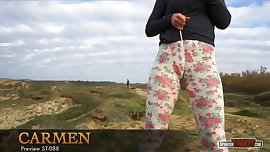 What happens inside Carmen's leggings?