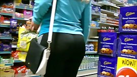 Candid plump round juicy ass in spandex