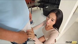Sweet Asian ladyboy fucks lucky dude