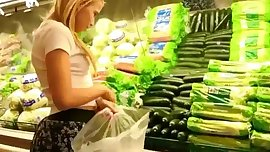 Daring girl masturbates in supermarket