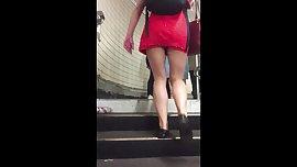 Sexy teen tight mini dress heel popping