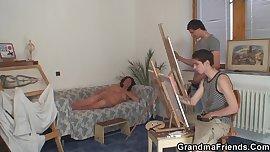 Old grandma and boys teen threesome