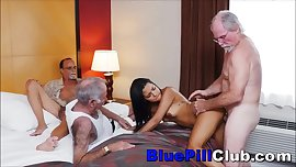 Latina Teenager Whore Fucks Three Elderly Geezers